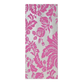 "Pink & Silver Damasks Table Card 4"" X 9.25"" Invitation Card"