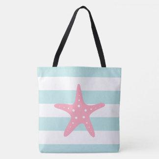 Pink Star Fish on Mint Stripes Tote Bag