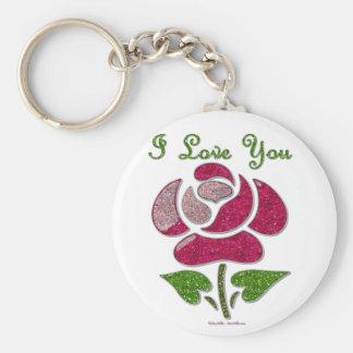 Pink Stencil Rose I Love You Basic Round Button Keychain