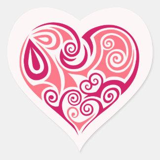 Pink tribal tattoo heart symbol girly love art heart sticker