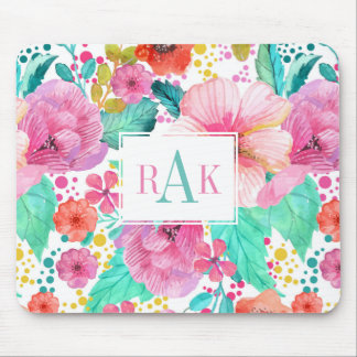 Pink & Turquoise Floral Collage Mouse Pad
