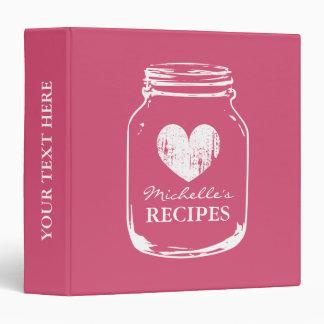 Pink vintage mason jar kitchen recipe binder book