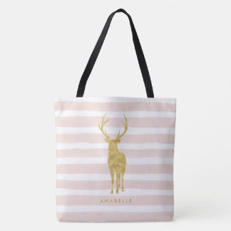 Pink Watercolor Stripes and Faux Gold Deer Tote Bag