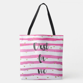 Pink Watercolor Stripes Gold Confetti Tote Bag