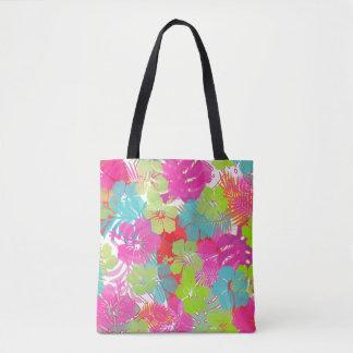 PixDezines Aloha Hibiscus/Rainforest Foliage Tote Bag