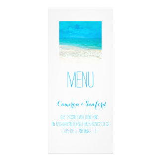 PixDezines Menu Caribbean Blue Beach Full Color Rack Card