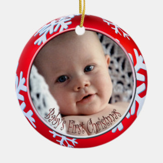 PixDezines Snowflakes Baby's First Christmas Round Ceramic Ornament