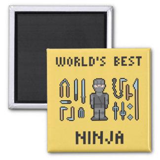 Pixel World's Best Ninja Square Magnet