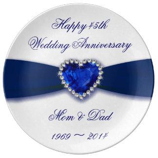 Plat de porcelaine d'anniversaire de mariage de assiette en porcelaine