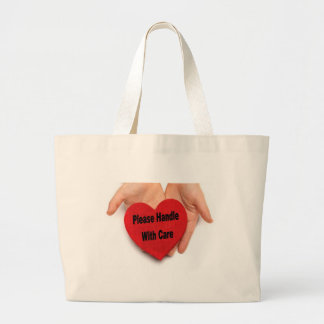 Please Handle With Care Valentine Hands Jumbo Tote Bag