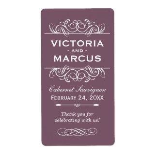 Plum Wedding Wine Bottle Monogram Favor Labels