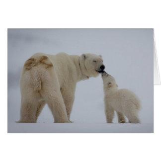 Polar Bear mother with cub Greeting Card