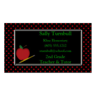 Polka Dot Teacher & Apple Business Card