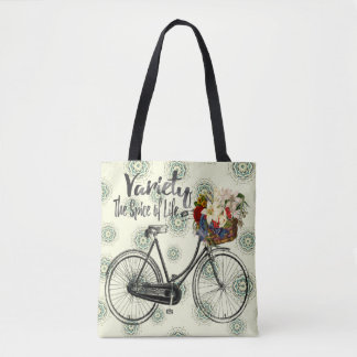 Polka dot tote bag Variety the spice of life bike