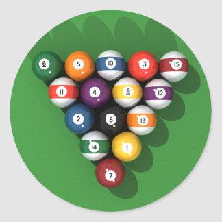 Pool Balls on Green Felt: Round Sticker