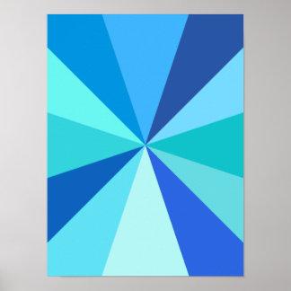Pop Art Modern 60s Funky Geometric Rays in Blue Poster
