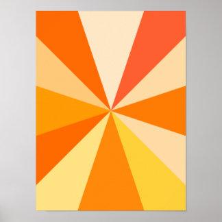 Pop Art Modern 60s Funky Geometric Rays in Orange Poster