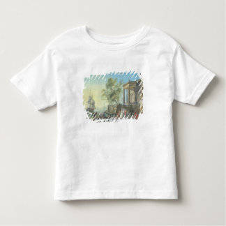 Port Scene with Setting Sun (oil on canvas) T-shirt