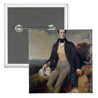 Portrait of Alphonse de Lamartine  1830 2 Inch Square Button