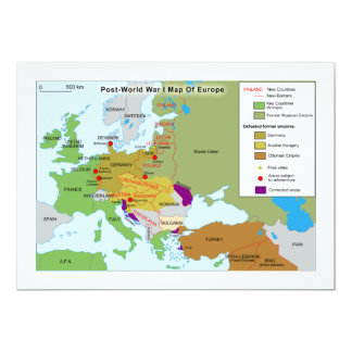"Post World War I Map of Europe 5"" X 7"" Invitation Card"