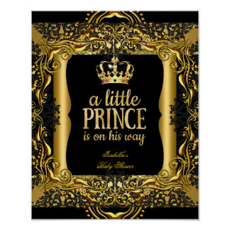 Poster Baby Shower Little Prince Gold Black