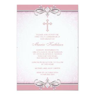 Première communion de croix rose de damassé carton d'invitation  12,7 cm x 17,78 cm