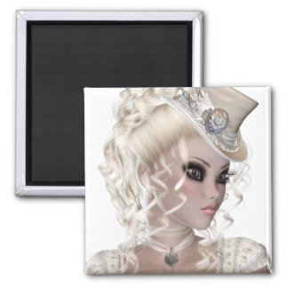 Pretty Blond Woman Wearing a Beige Hat Square Magnet