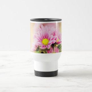 Pretty pink garden flowers 15 oz stainless steel travel mug