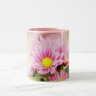 Pretty pink garden flowers Two-Tone coffee mug