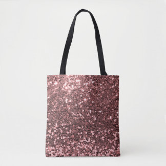 Pretty Rose Gold Pink Glitter All Over Print Tote Bag