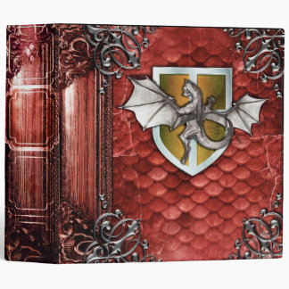 Pretty Rustic Red Dragon Scale Ancient Tome Vinyl Binder