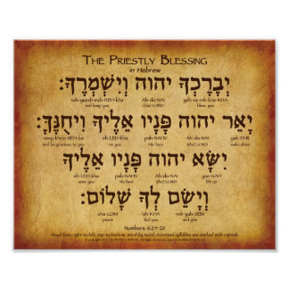 Priestly Blessing Hebrew Poster Num 6:24-26
