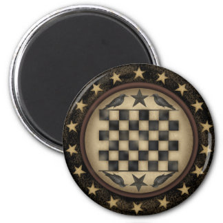 Primitive Crow Checkerboard Fridge Magnet