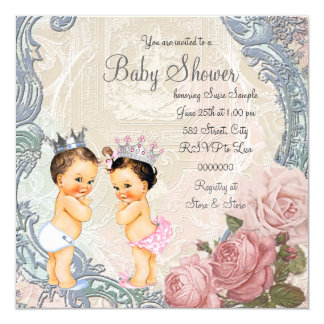 """Prince and Princess Twin Baby Shower 5.25"""" Square Invitation Card"""