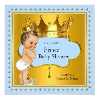 "Prince Baby Shower Boy Blue Gold Crown Brunette 5.25"" Square Invitation Card"