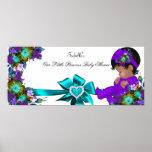 Princess Baby Shower Girl Teal Blue Purple Poster