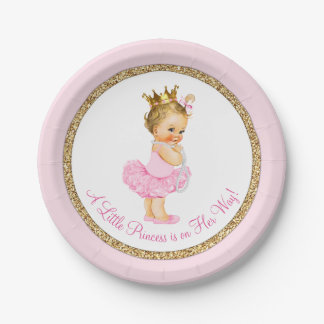 Princess Ballerina Pink Gold Baby Shower 7 Inch Paper Plate