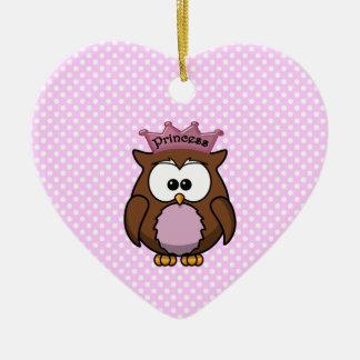 Princess owl ceramic heart ornament