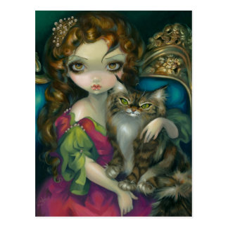 """Princess with a Maine Coon Cat"" Postcard"