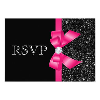 """Printed Black Sequins and Hot Pink Bow RSVP 3.5"""" X 5"""" Invitation Card"""