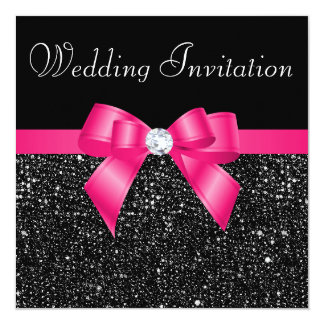 """Printed Black Sequins and Hot Pink Bow Wedding 5.25"""" Square Invitation Card"""