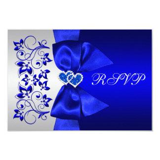 "PRINTED RIBBON Blue, Silver Floral Wedding RSVP 3.5"" X 5"" Invitation Card"