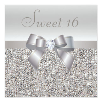 """Printed Silver Sequins, Bow & Diamond Sweet 16 5.25"""" Square Invitation Card"""