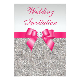"""Printed Silver Sequins Hot Pink Bow Wedding 5"""" X 7"""" Invitation Card"""