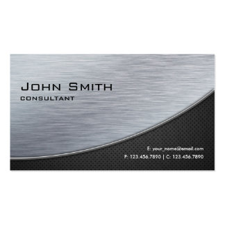 Professional Elegant Silver Modern Metal Black Business Card