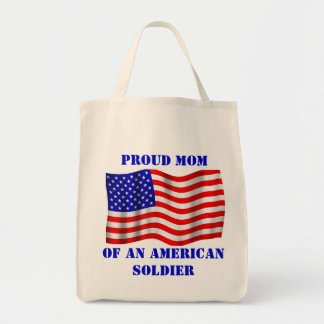 Proud Mom Of An American Soldier Flag Grocery Bag