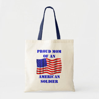 Proud Mom Of An American Soldier Flag Tote Bag