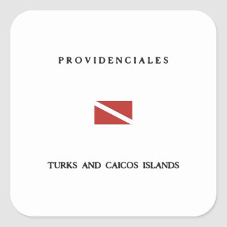 Providenciales Turks and Caicos Islands Scuba Dive Square Sticker