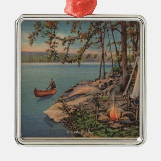 Pulaski, NY View of Canoe, Camping, Tent, Lake Silver-Colored Square Ornament