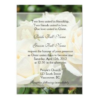 "Pure white rose flowers Christian wedding 5.5"" X 7.5"" Invitation Card"